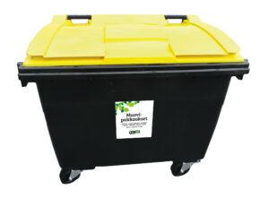 Keltainen suuri muovipakkausten keräysastia